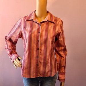 Talbots Pink Striped Button Down Top Size 10